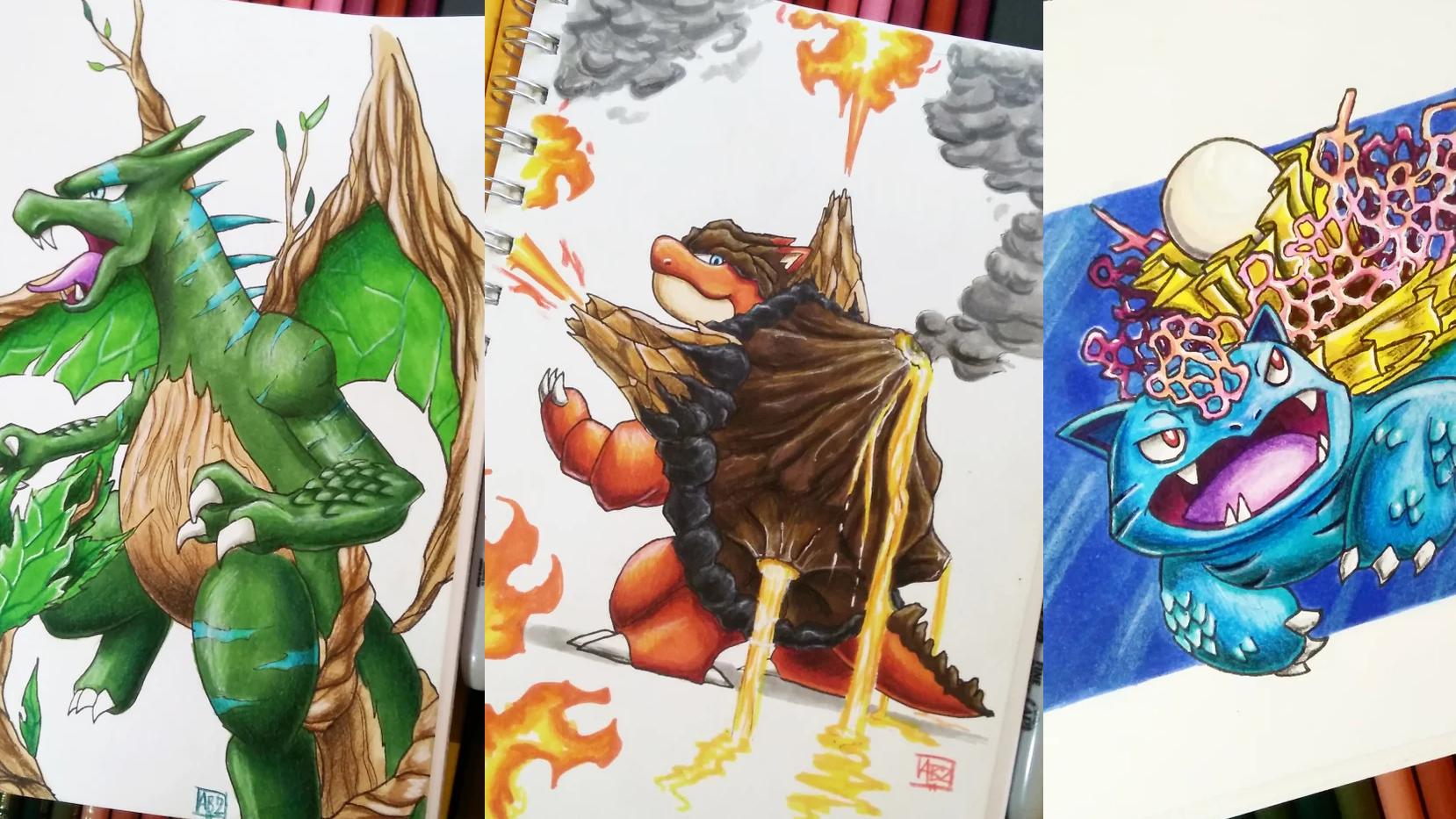 Artist Reimagines Pokémon Starters As Different Pokémon Types