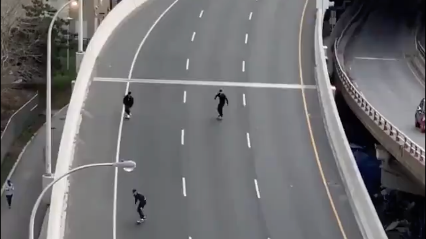 Skateboarders Turn Empty Toronto Expressway Into A High-Speed Skate Park