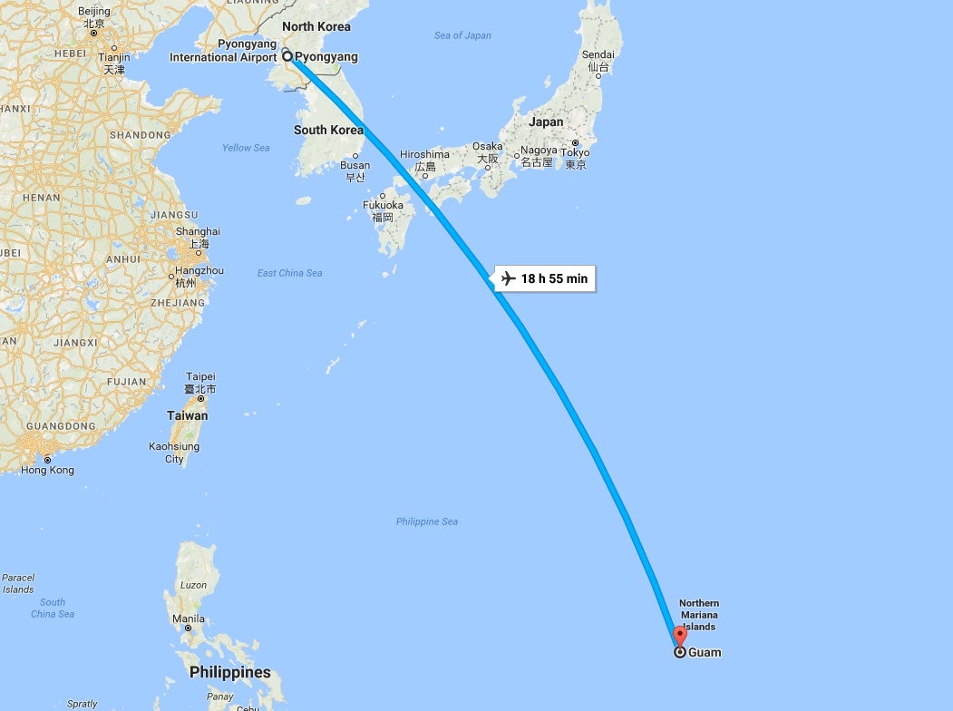Everything that happened in north korea yesterday gizmodo australia map showing that any launch of a missile from north korea towards guam would have to travel over japanese airspace google maps gumiabroncs Image collections