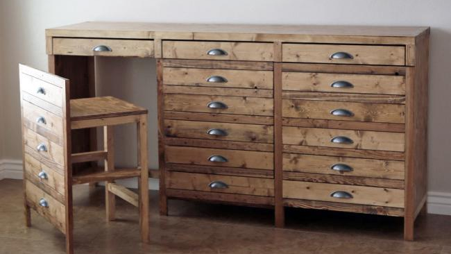 This DIY Apothecary Desk Holds Hidden Chairs