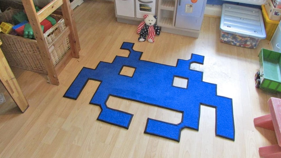 A Retro Rug That Only Battles Dirty Shoes, Not Invaders From Space