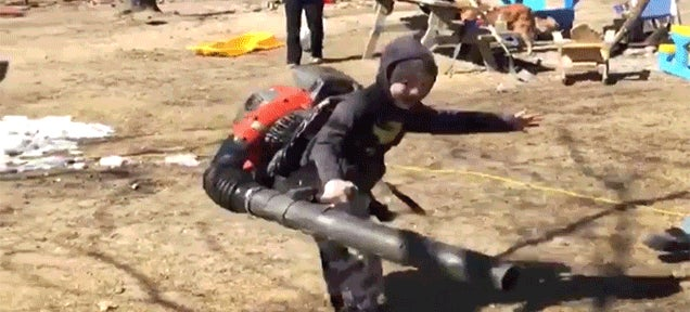 Kid Wearing a Leaf Blower Hilariously Loses Control and Starts Spinning in Circles