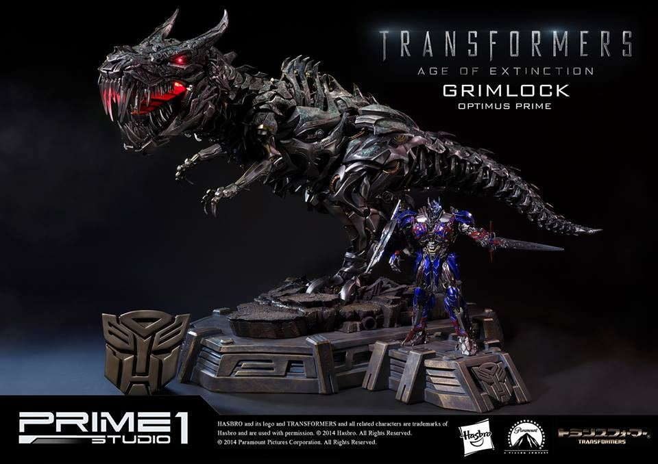 Glorious Grimlock and Optimus Prime Statue