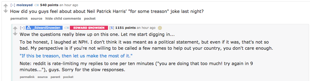Edward Snowden's Reddit AMA Sure Is Going Great So Far