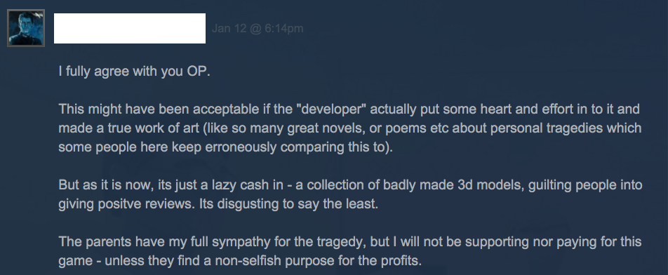 That Dragon, Cancer's Developers Are OK With Arsehole Steam Discussions
