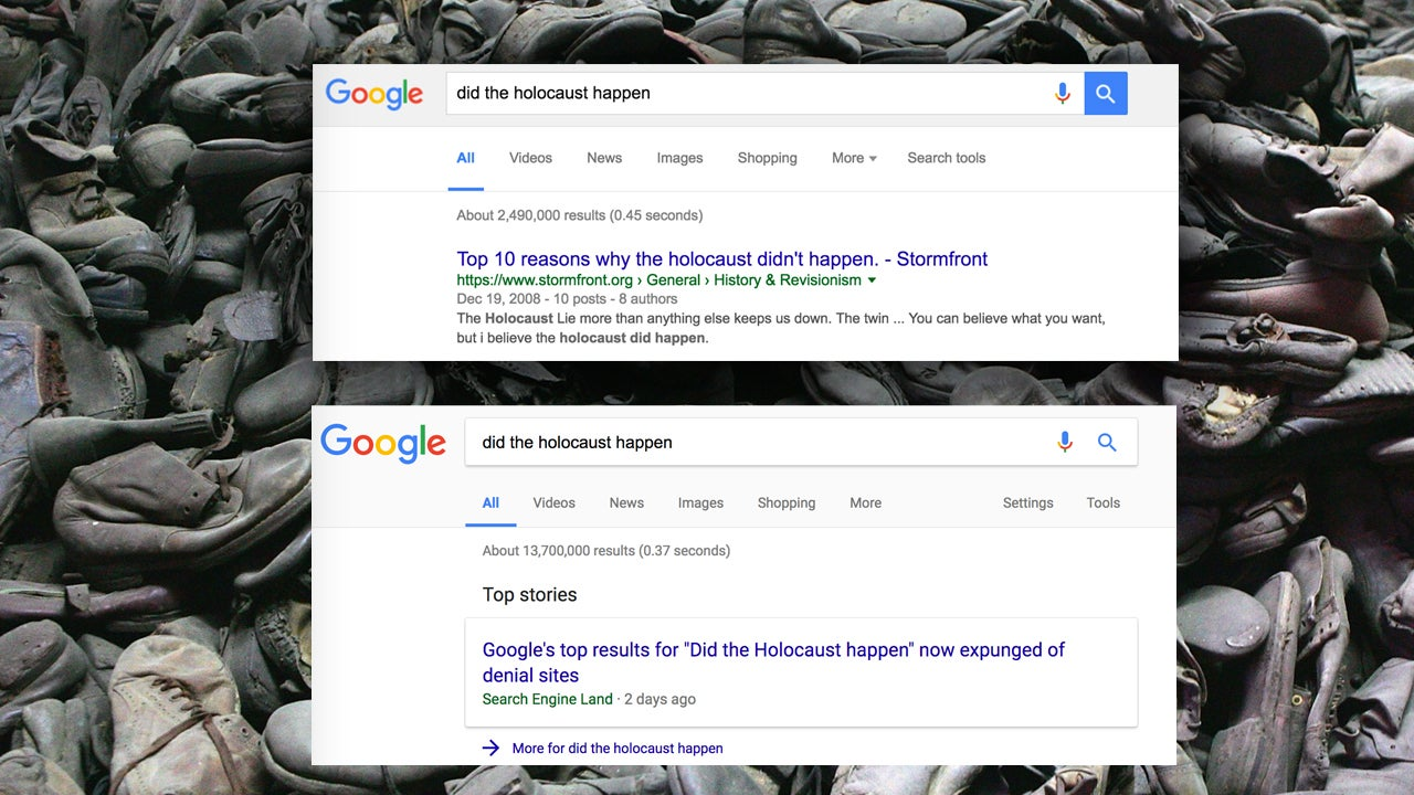 Google Changes Algorithm To Remove Holocaust-Denying Results