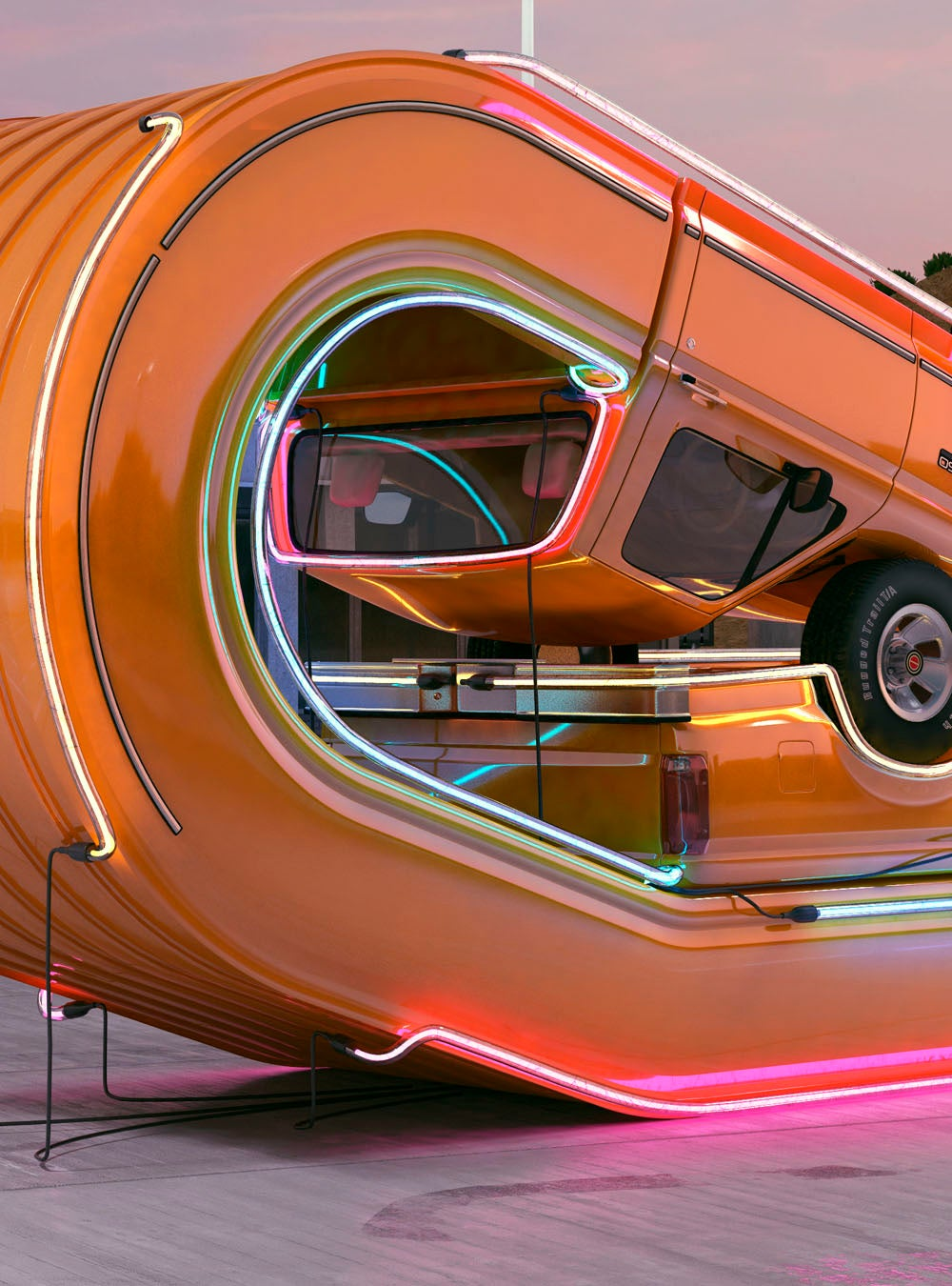 Cool renders of trucks bending beyond the laws of physics