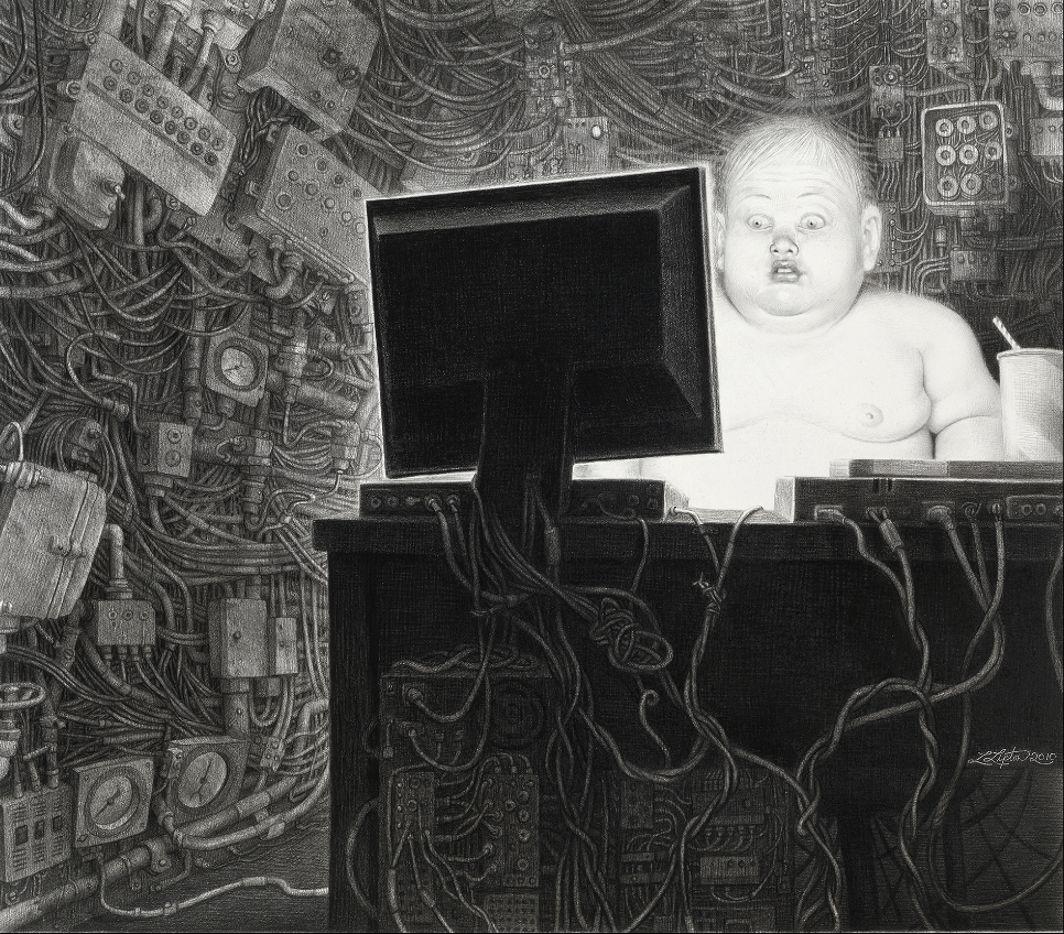 Dystopian future drawings feel like a Terry Gilliam movie storyboard