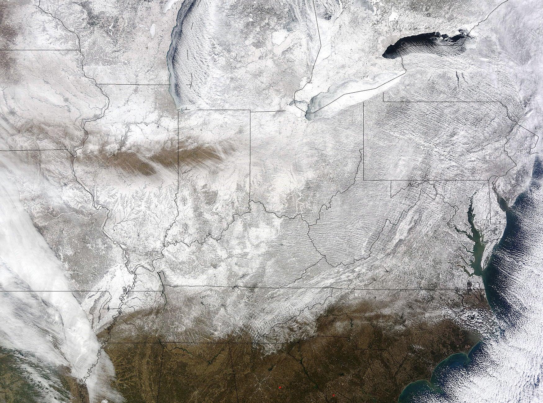 NASA satellite image shows record-breaking frozen Eastern US