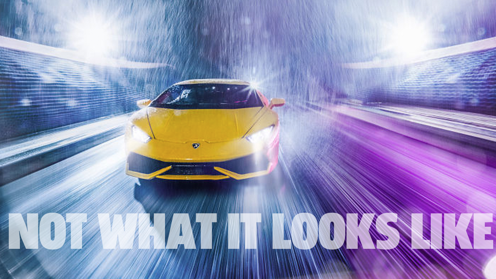 This Isn't A Picture Of A Lamborghini Driving On A Track In The Rain