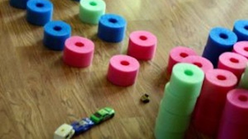 Turn A Pool Noodle Into 'Quiet' Blocks For Kids To Play With
