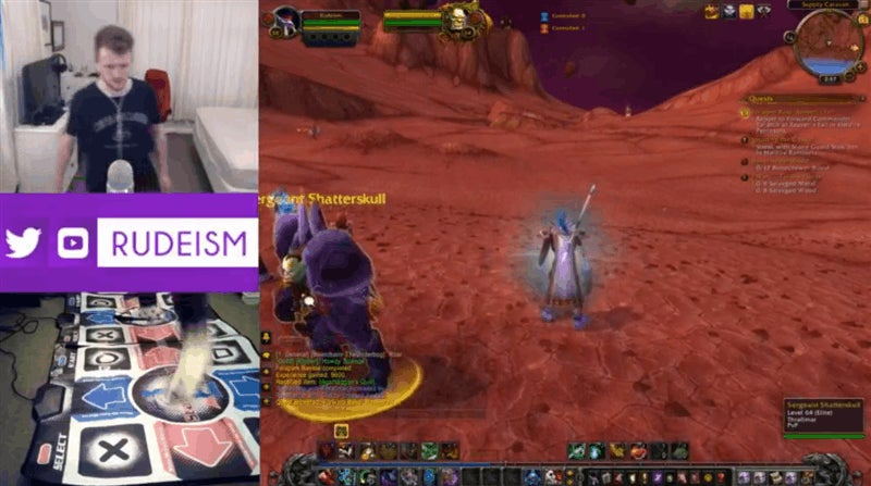 Guy Trying To Hit Level 100 In World Of Warcraft...Using Dance Mats