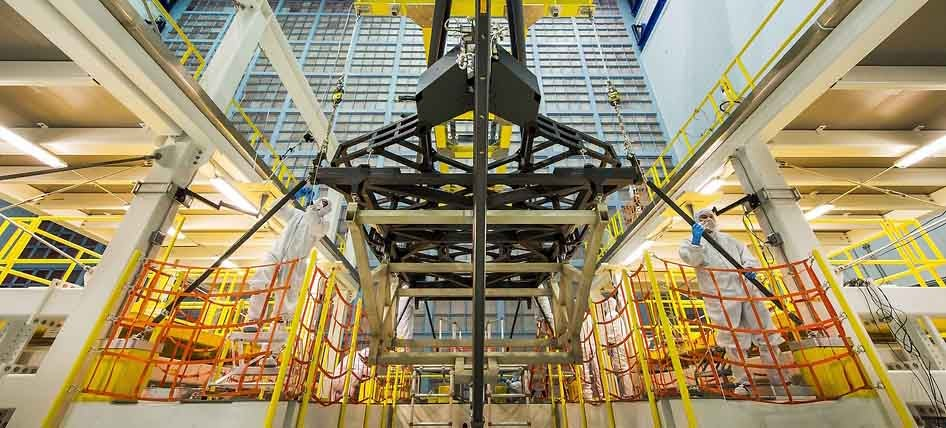A Replica Of The Backplane Of The James Webb Space Telescope Is Hoisted Into Place