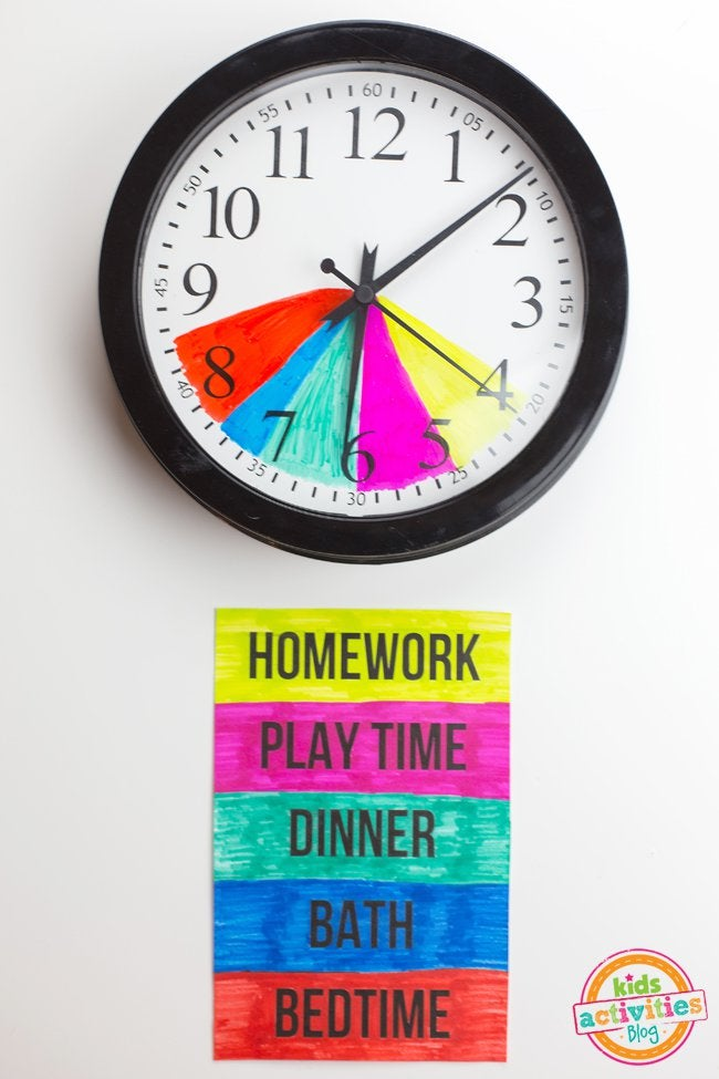 Classroom Routine Ideas ~ Make after school routines easier by colour coding a clock