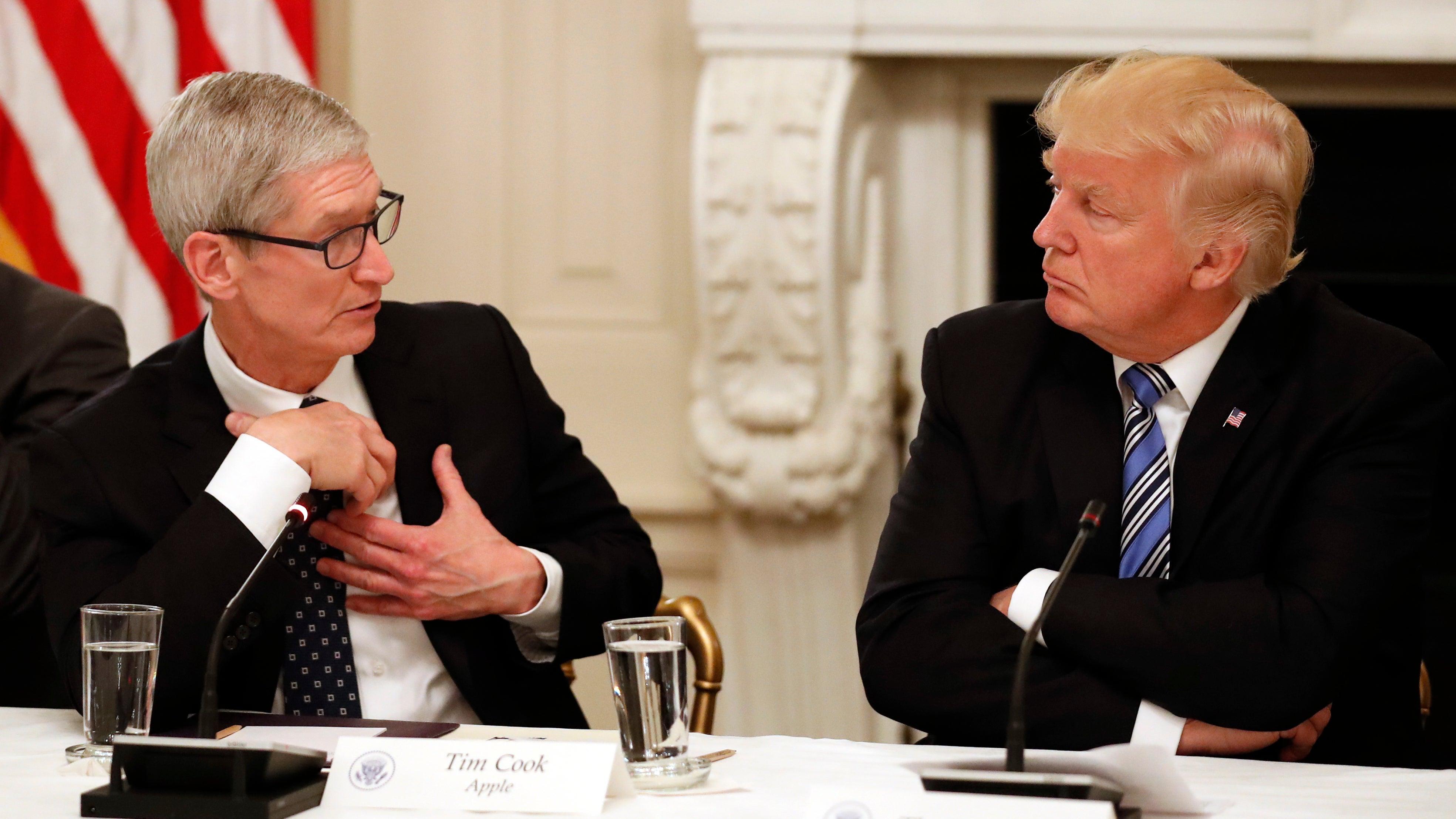 Apple Declines To Comment On Trump's Claim Tim Cook 'Promised Me 3 Big Plants: Big, Big, Big'
