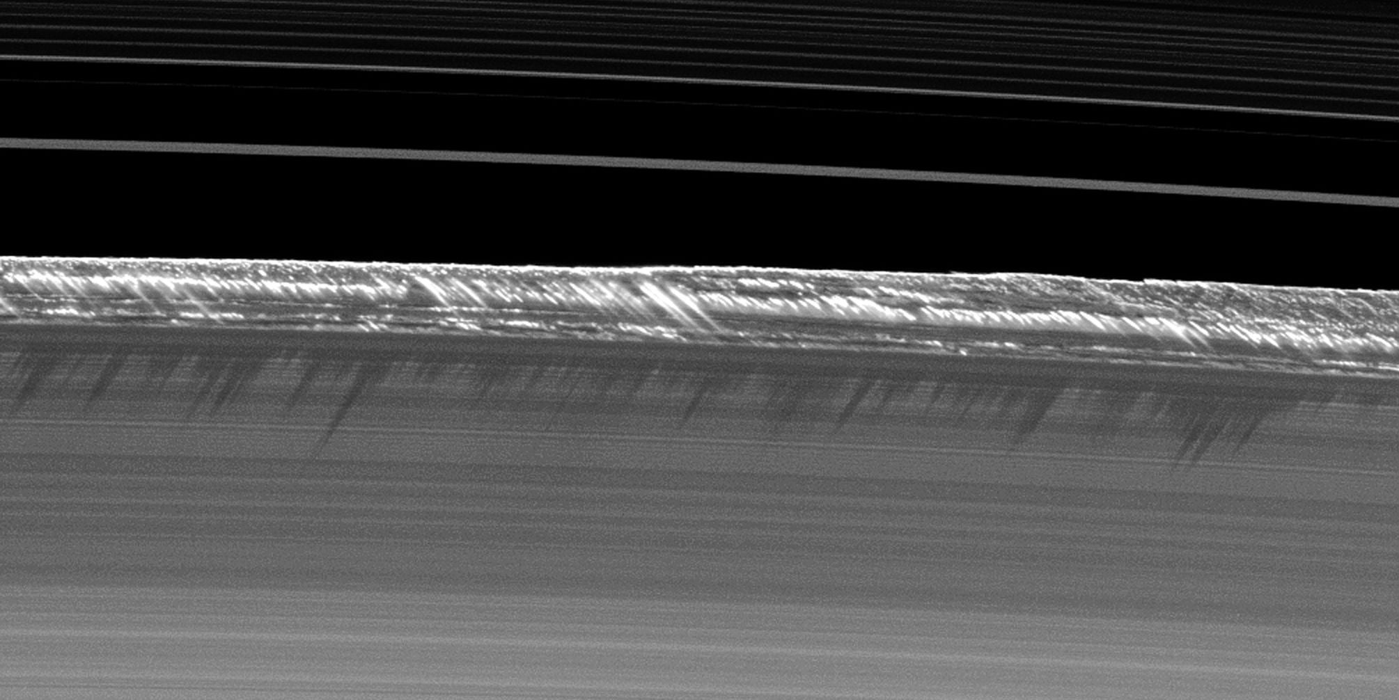 Saturn's rings contain soaring towers of ice