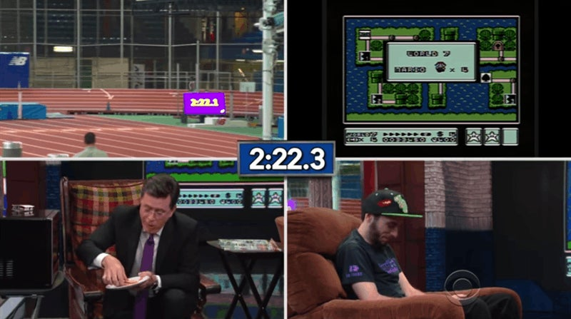 World's Fastest Mario 3 Player Versus Stephen Colbert Eating A Hot Pocket