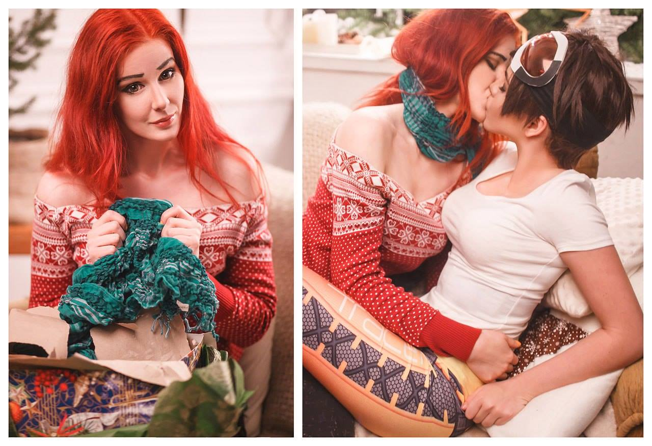 Tracer And Emily Cosplay Celebrates Romantic Overwatch Christmas ...
