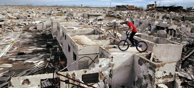 This abandoned town is a giant playground for trials bikers
