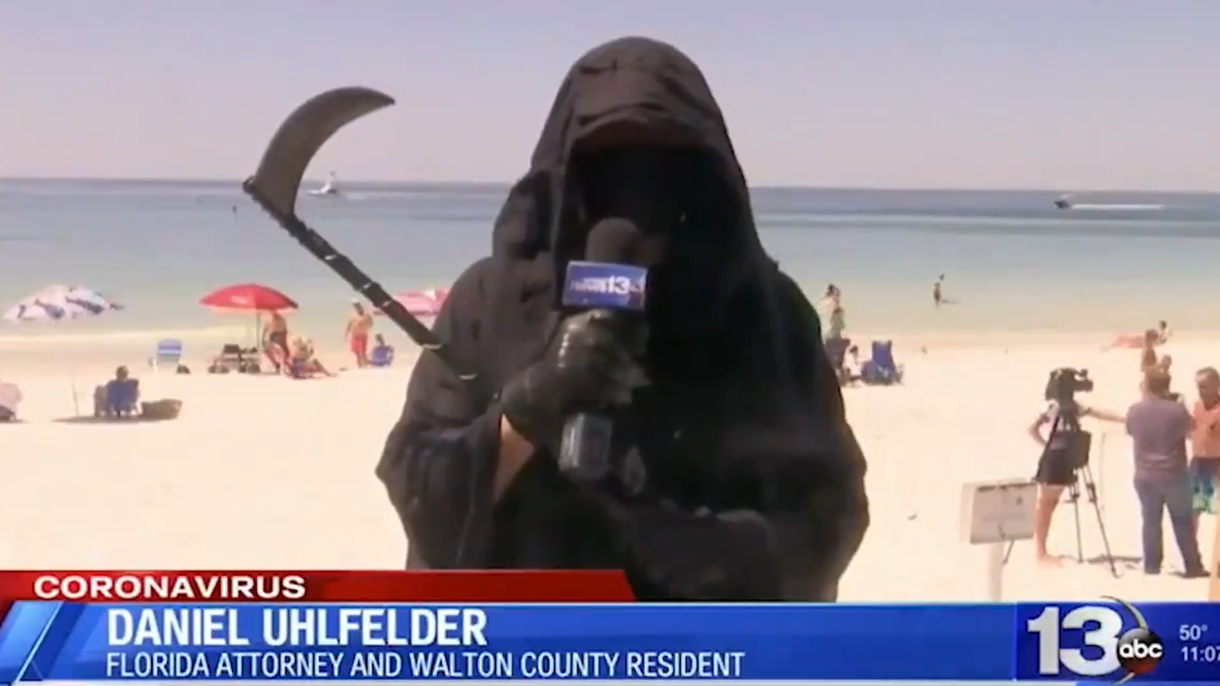 Grim Reaper Educates Florida Beachgoers On The Benefits Of Social Distancing