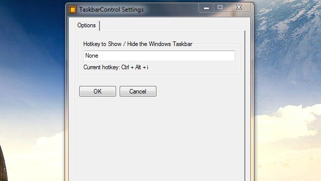 Taskbar Control Hides and Unhides the Windows Taskbar with a Hotkey