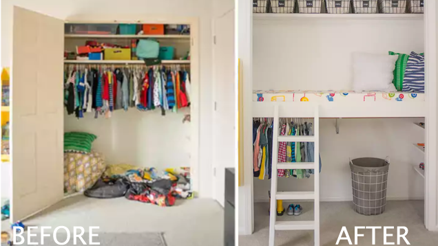 Turn a Closet into a Kid's Reading Loft