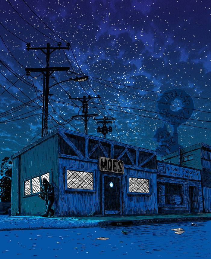 Simpson's Springfield turns creepy in these night illustrations