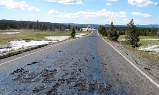 It's So Hot In Yellowstone That A Road Literally Melted