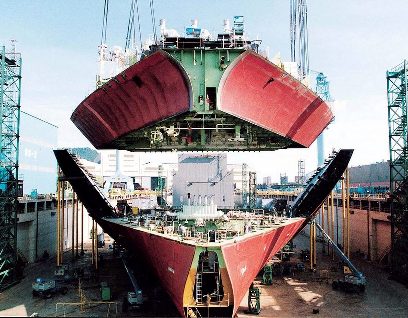 A giant bow suspended over a ship