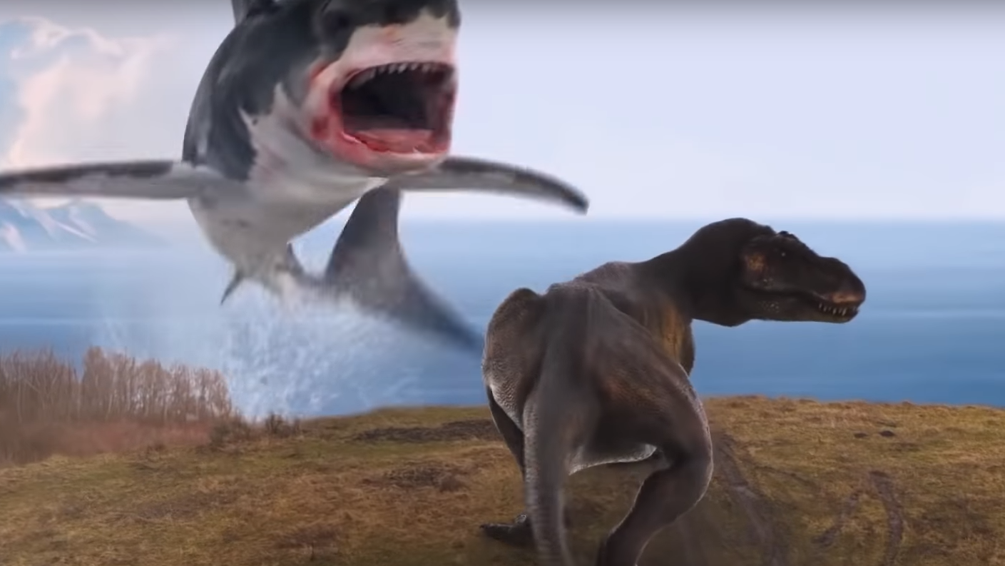 Good Morning, Here's Footage Of A Shark Fighting A T-Rex From The Final Sharknado Film