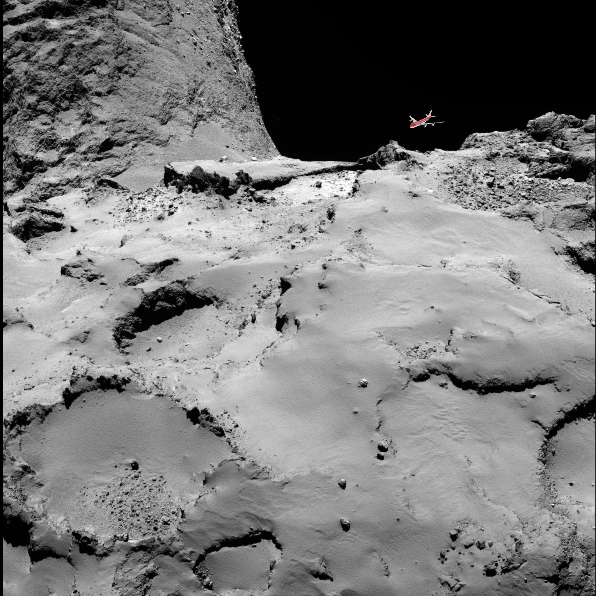 Look at the size of Rosetta's comet compared to a 747!