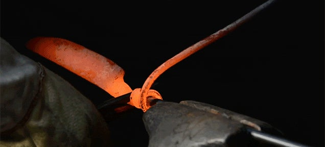 Turning a Railroad Spike into a Knife with a Coil Grip