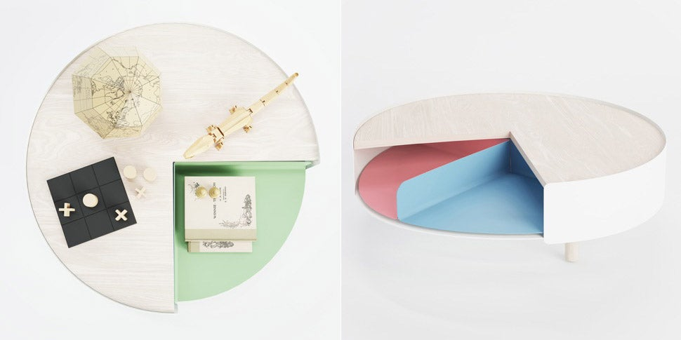 This Pie Chart-Style Coffee Table Hides Mess Quarter-by-Quarter