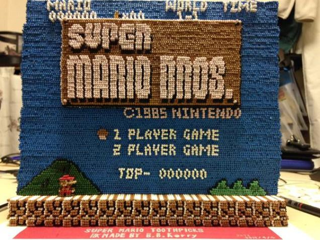 Super Mario Bros. Screenshot Recreated with 14,000 Toothpicks