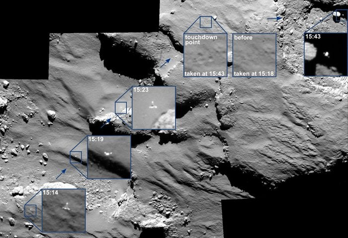 Philae Bouncing Off the Comet, Caught in Amazing Rosetta Images