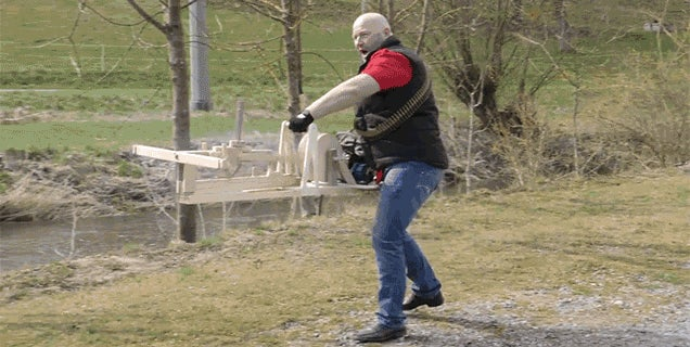Stop and Stare In Awe At a Chainsaw-Powered Marble-Firing Machine Gun