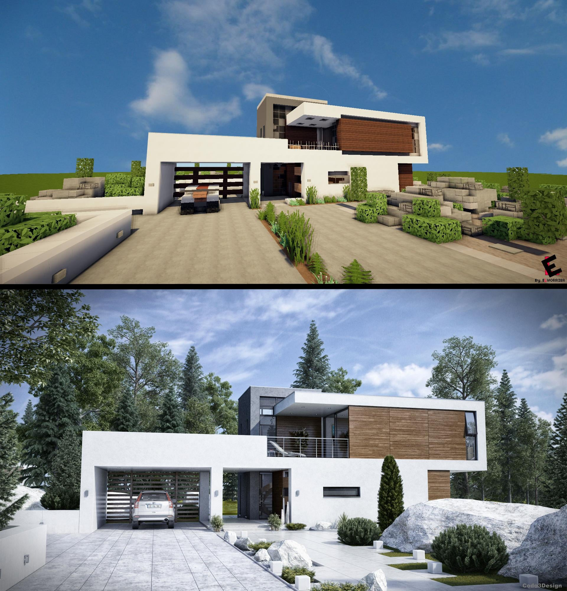 Modern House: When A Talented Minecraft Player Searches 'Modern House