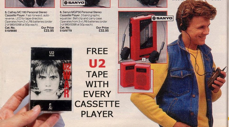 Vintage ad promising a free U2 tape with every Walkman is fake