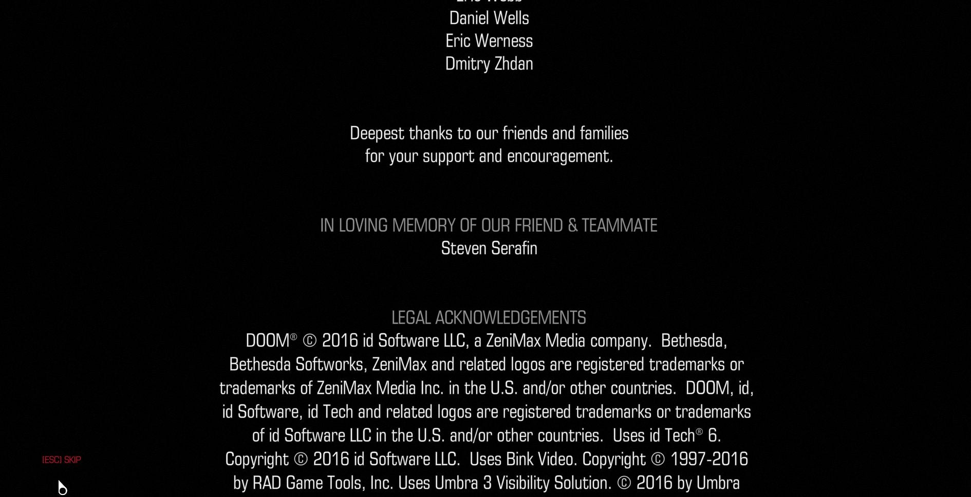 f3695842142a His colleagues put this nice shoutout in the credits of their newest game