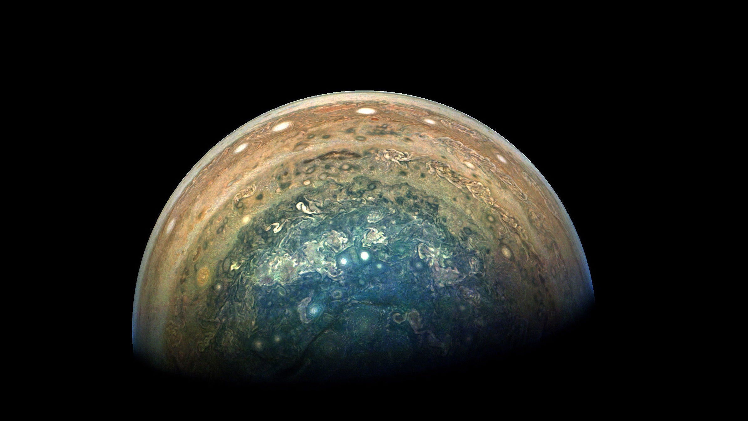 This Picture Of Jupiter's Swirly Blue Pole Is Magnificent
