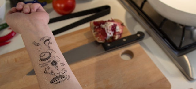 Keep Your Cookbooks Clean With a Temporary Recipe Tattoo on Your Arm