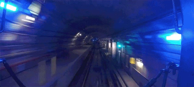 Watch a Train Travel Inside the Tunnels of the New York City Subway System