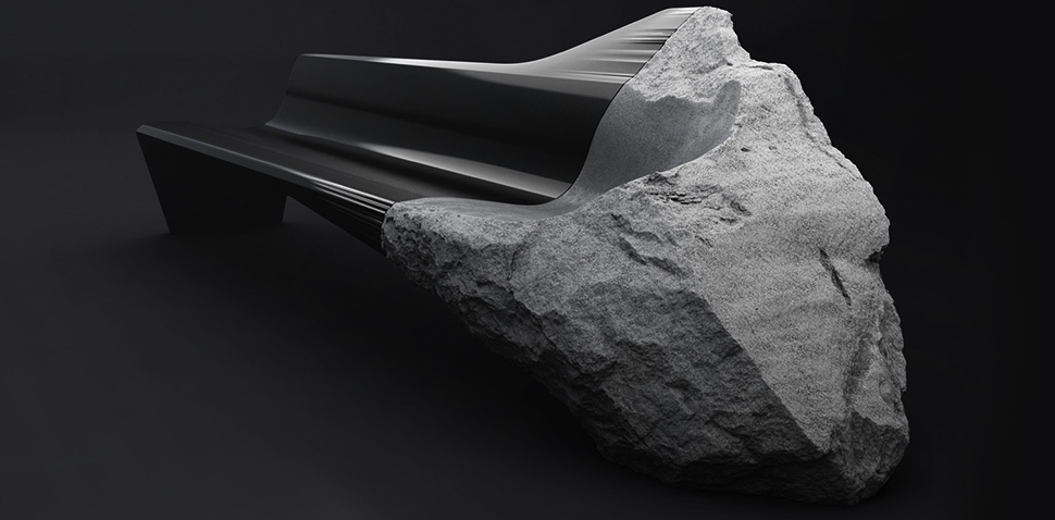 Watch a Chunk of Lava Stone Get Grafted Onto a Carbon Fibre Bench