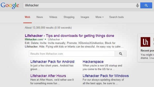 Search Individual Sites on Google by Searching For Their Name