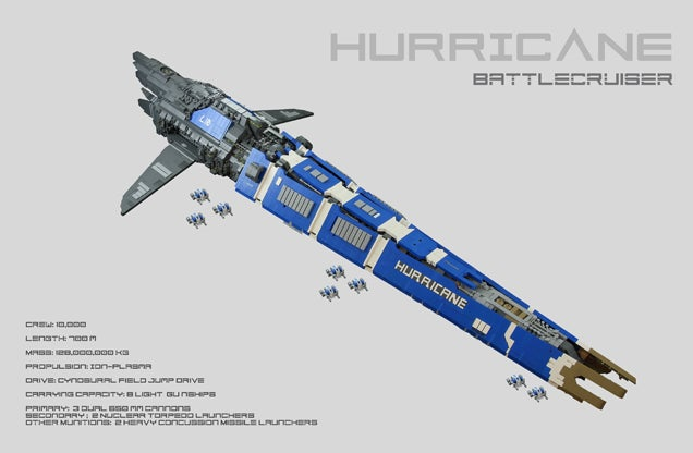 EVE Online's Hurricane Cruiser, Turned Into a LEGO Beast