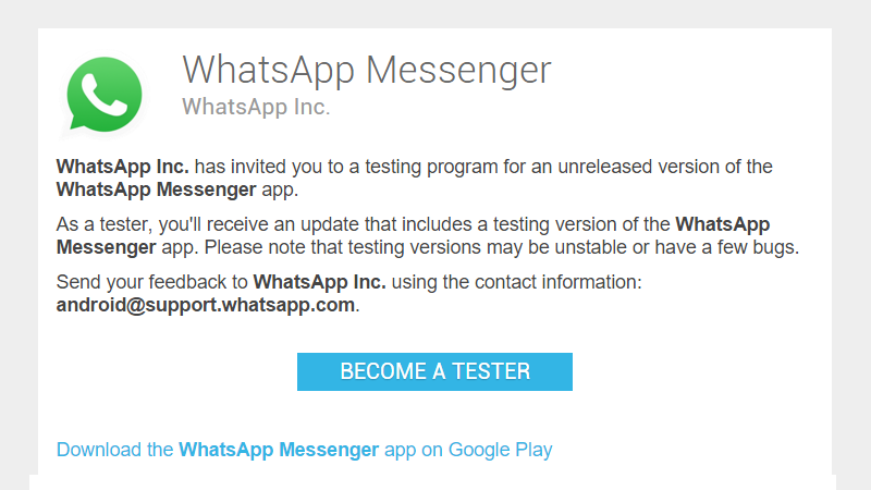 WhatsApp Releases Official Beta Channel to the Google Play Store
