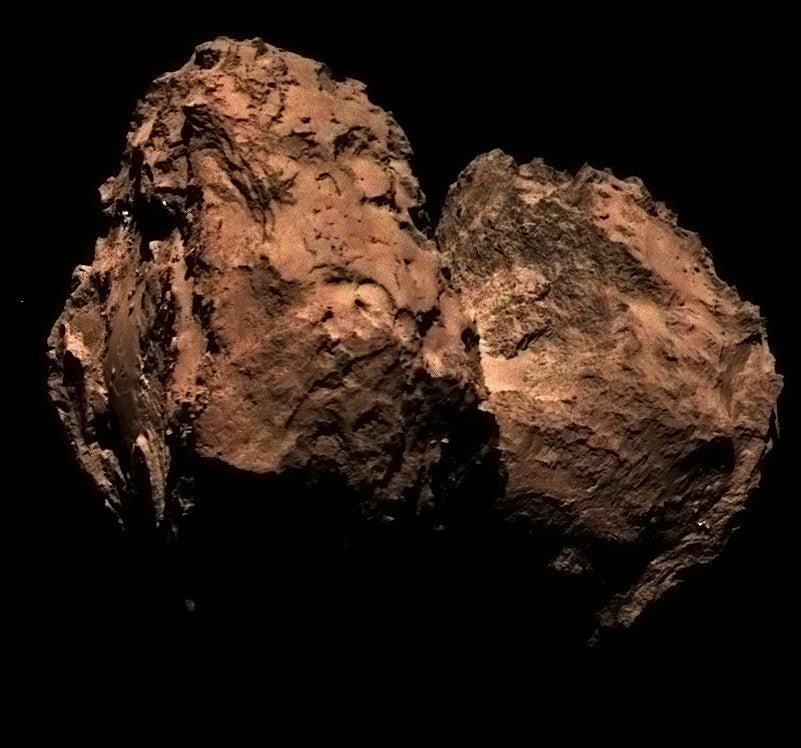 The first true colour image of comet 67P taken by the Rosetta spacecraft