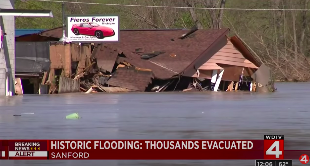Rare Pontiac Fieros Are Underwater After '500 Year Flood' Breaches Dams And Floods Michigan Towns