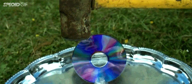 The jiggly fun of smashing a CD with a sledge hammer in slow motion