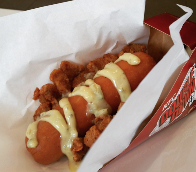 KFC's Double Down hot dog is a sausage wrapped in a fried chicken bun